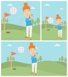 Golfer hitting the ball vector illustration. Stock Photo