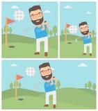Golfer hitting the ball vector illustration. Stock Image