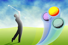 Golfer hitting colorful balls Stock Photo