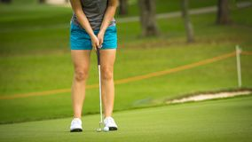 Golfer pushing golf to hole at golf course stock photography