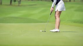 Golfer pushing golf to hole at golf course royalty free stock photo