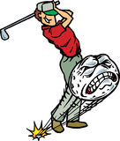 Golfer hitting golfball. Golfer hitting a screaming golf ball Stock Image