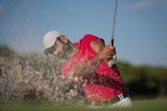 Golfer hitting a sand bunker shot. Golf player shot ball from sand bunker at course Stock Images