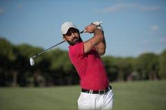 Golfer hitting a sand bunker shot Royalty Free Stock Photos