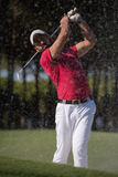 Golfer hitting a sand bunker shot. Golf player shot ball from sand bunker at course Stock Photography