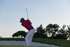 Golfer hitting a sand bunker shot on sunset Royalty Free Stock Image