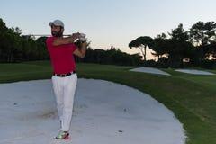 Golfer hitting a sand bunker shot on sunset Royalty Free Stock Images