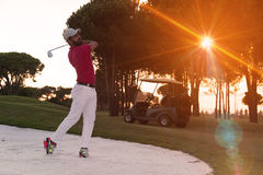 Golfer hitting a sand bunker shot on sunset. Golf player shot ball from sand bunker at course with beautiful sunset with sun flare Royalty Free Stock Image