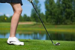 Golfer Hitting a Tee Shot Royalty Free Stock Images