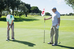Golfer holding eighteenth hole flag for friend putting ball Stock Images