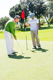 Golfer holding hole flag for friend putting ball Stock Image