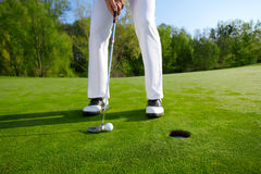 Golfer on the hole Royalty Free Stock Images
