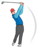 Golfer. Illustration of a golfer swinging club Stock Images