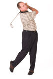 Golfer iron #3. Follow through on swing Stock Photo