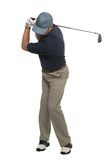Golfer iron shot back swing Royalty Free Stock Photos
