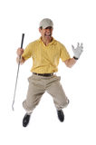 Golfer jumpinp. Golfer jumping and celebrating isolated on a white background royalty free stock images
