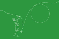 Golfer. Linear line graphic. Royalty Free Stock Image