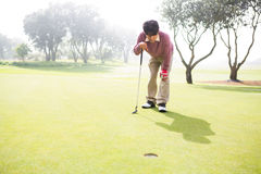 Golfer looking at the hole. At the golf course Royalty Free Stock Photos