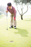 Golfer looking at the hole. At the golf course Royalty Free Stock Photo