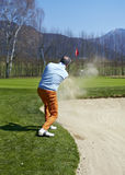 Golfer man at the bunker Stock Photos