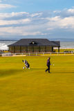 A golfer on the Old Course of St Andrews. Fife, Scotland Royalty Free Stock Images