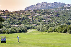 Golfer at Pevero. Golf Course in Sardinia, Italy Royalty Free Stock Image