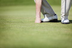 Golfer picking up ball. Stock Photos
