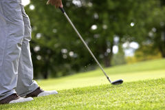 Golfer pitching. Golf player pitching the golf ball onto the green, ball in the air Stock Photo