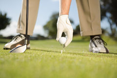 Golfer placing golf ball on tee Stock Photos