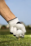 Golfer Placing Tee and Ball Stock Images