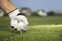 Golfer Placing Tee and Ball. Male golfer places a golf ball and tee in the ground. Horizontal shot stock photo