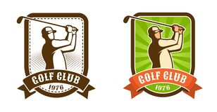 Golf player with stick retro sport emblem