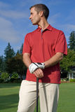 Golfer Poses for Camera - Vertical Royalty Free Stock Images