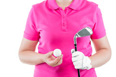 Golfer prepared for the game ball and a golf club in his hands. Closeup Stock Images
