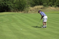 Golfer putting. On the green. Ball and golf club are in slight movement Royalty Free Stock Photos
