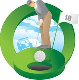 Golfer putting 18th hole. With golf cart silhouette stock illustration