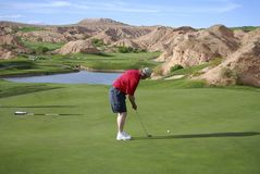 Golfer Putting. A golfer putting on a mountainous golf course Royalty Free Stock Photography