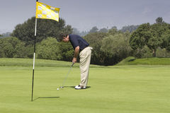 Golfer putting. Handsome senior male golfer standing on green putting ball. Pin in hole with yellow and white flag flying in breeze stock image