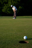 Golfer putting a golf ball Stock Photography