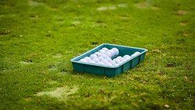 Golf ball putting on green grass near hole golf to win in game at golf course with blur background and sunlight ray. Golfer is putting golf ball on green grass royalty free stock photo