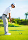 Golfer on Putting Green. Hitting Ball into the Hole Stock Photo