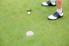 Golfer on the putting green at the hole Royalty Free Stock Photography