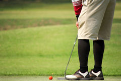 Golfer putting on the green Stock Photo
