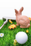 Golfer's easter bunny royalty free stock image