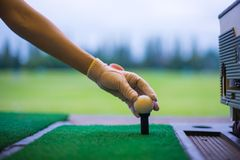 Golfer`s hand holding ball on tee at Driving range golf club. Woman golfer`s hand holding ball on tee with golf course background. close up of golf players hand Royalty Free Stock Image