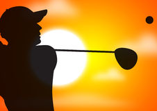 Golfer's swing. Young male playing golf in the evening Stock Photo