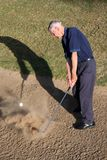 Golfer in Sand Trap. SSenior golfer hitting ball out of golf sand trap Royalty Free Stock Photos