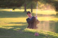 Golfer in sand trap Royalty Free Stock Photography