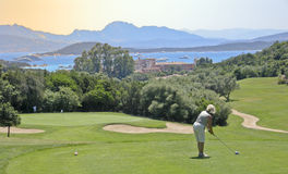 Golfer in Sardinia. Hole 10 of the Pevero golf course in Sardinia, Porto Cervo, Italy Stock Photos