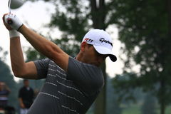 Golfer Sergio Garcia. Pro golfer Sergio Garcia prepares to hit the ball at the country clubs PGA golf event Stock Photography